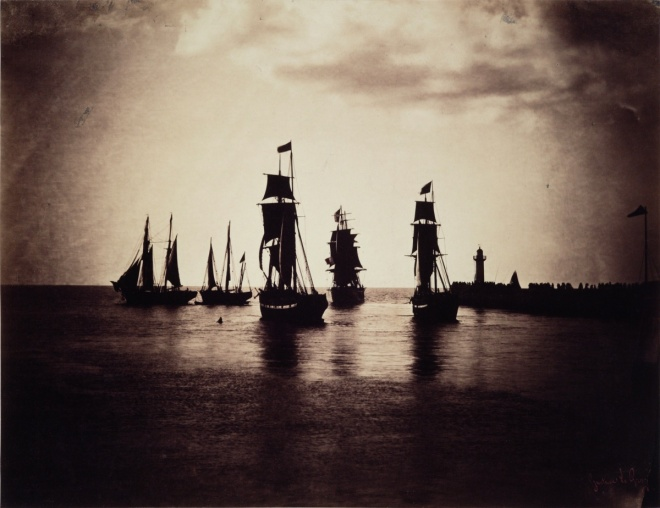 Gustave Le Gray Boats leaving the port of Havre Photograph